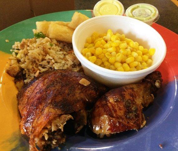 Dark chicken plate at Mami Nora's-Alpaca Peruvian Chicken in Morrisville, NC Triangle