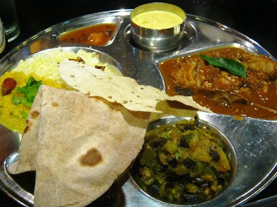 Thali plate at Vimala's Curryblossom Cafe in Chapel Hill, NC Triangle Dining
