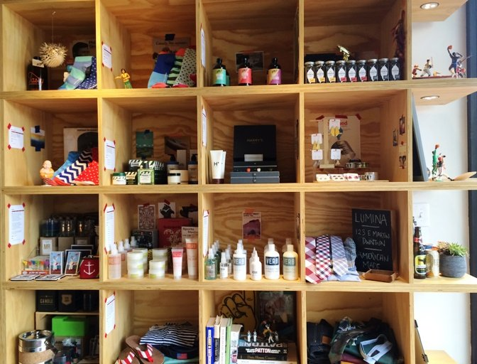 Shelving at Arrow Haircuts in Cameron Village, Raleigh- NC Triangle Dining
