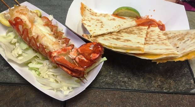 Lobster tail and quesadilla from Cousins Maine Lobster food truck Raleigh- NC Triangle Dining