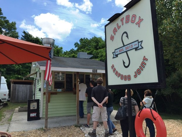 Busy line outside of Saltbox Seafood in Durham- NC Triangle Dining