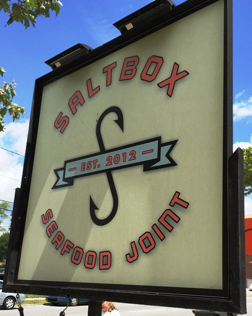 Sign at Saltbox Seafood Joint, Durham- NC Triangle Dining