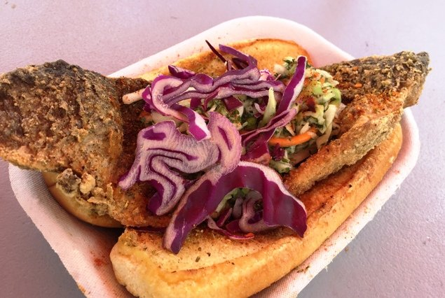 Mullet sandwich from Saltbox Seafood in Durham- NC Triangle Dining