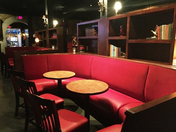 Plush booths at Circa 1888 in Raleigh- NC Triangle Dining