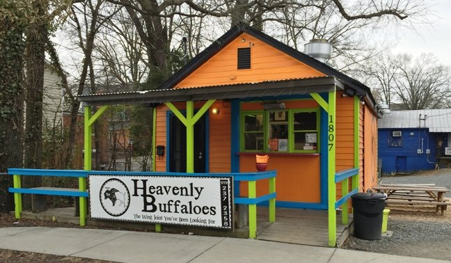 Bright building for Heavenly Buffaloes, Durham- NC Triangle Dining