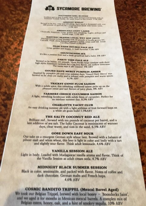 Diverse beer menu at Sycamore Brewing in Charlotte- NC Triangle Dining