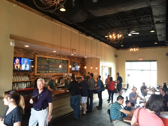 Bar area at Sycamore Brewing in Charlotte- NC Triangle Dining