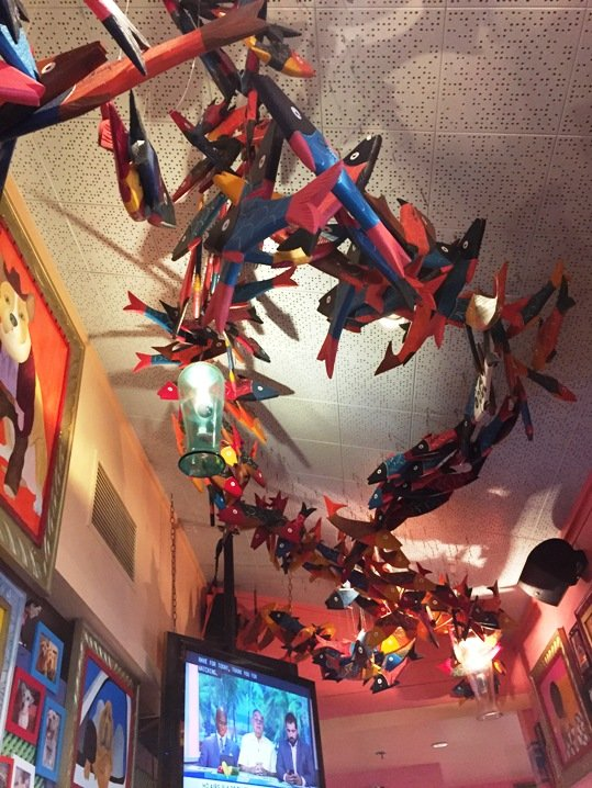 Painted ceiling fish at Chuy's in Raleigh- NC Triangle Dining