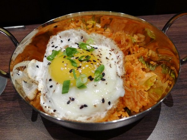 Kimchi rice with fried egg at Cinebistro in Cary- NC Triangle