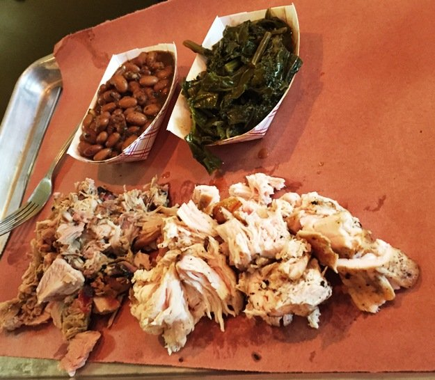 Chopped pork and chicken at Brew n Que, Cary- NC Triangle Dining