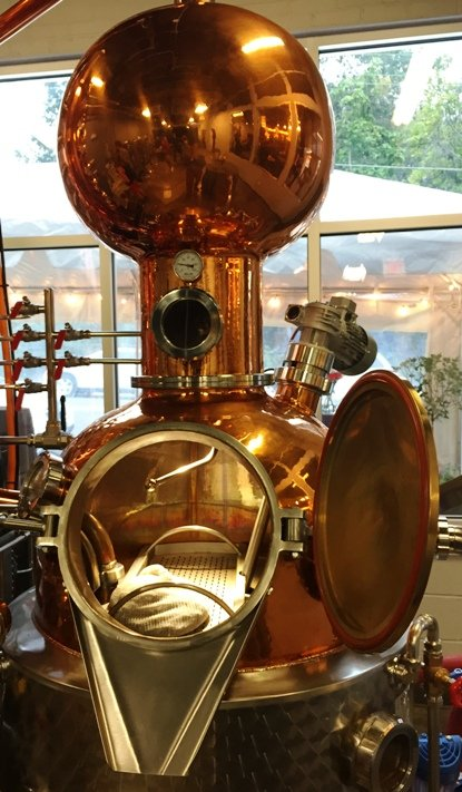 Beautiful distilling equipment at the Durham Distillery - NC Triangle Dining