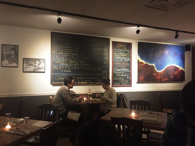 Specials board in dining room at Gocciolina in Durham- NC Triangle Dining
