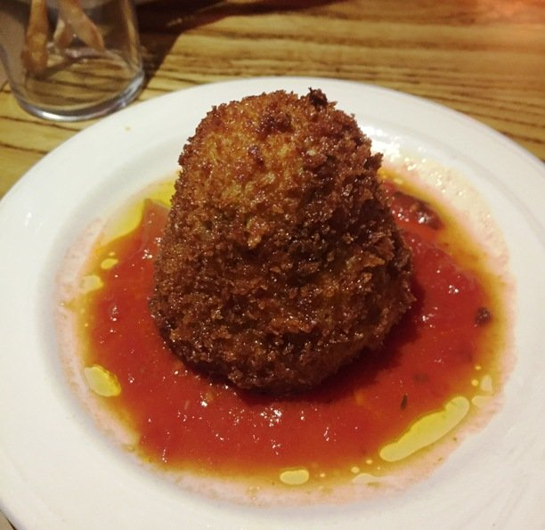 Seafood arancini at Gocciolina in Durham- NC Triangle Dining