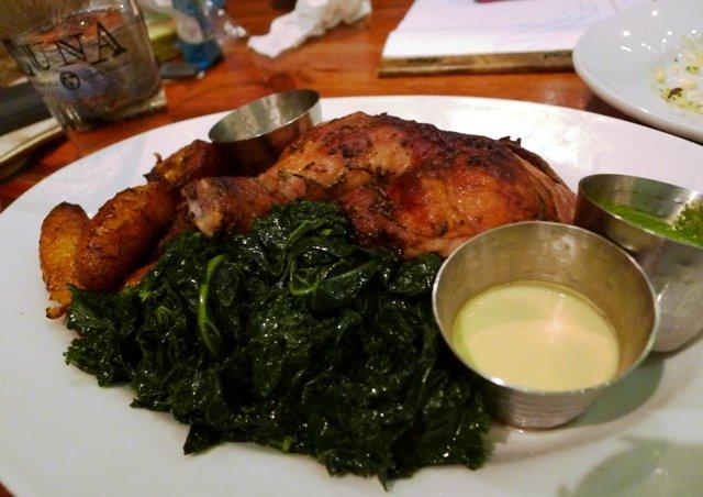 Quarter chicken plate at Luna Rotisserie and Empanadas in Durham- NC Triangle Dining