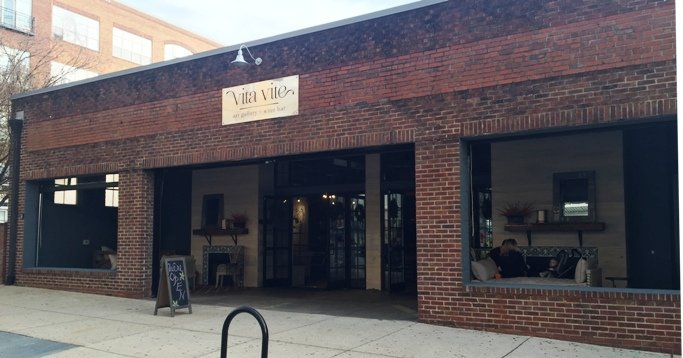 Brick front of Vita Vite in Raleigh- NC Triangle Dining