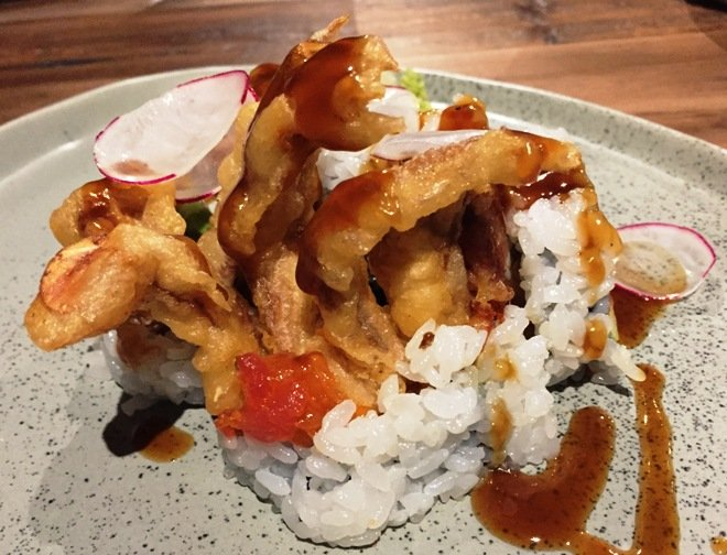 Spider roll with soft shell crab at M Sushi, Durham- NC Triangle Dining