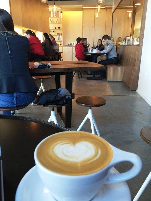 Enjoying Jubala Coffee on Hillsborough St, Raleigh- NC Triangle Dining