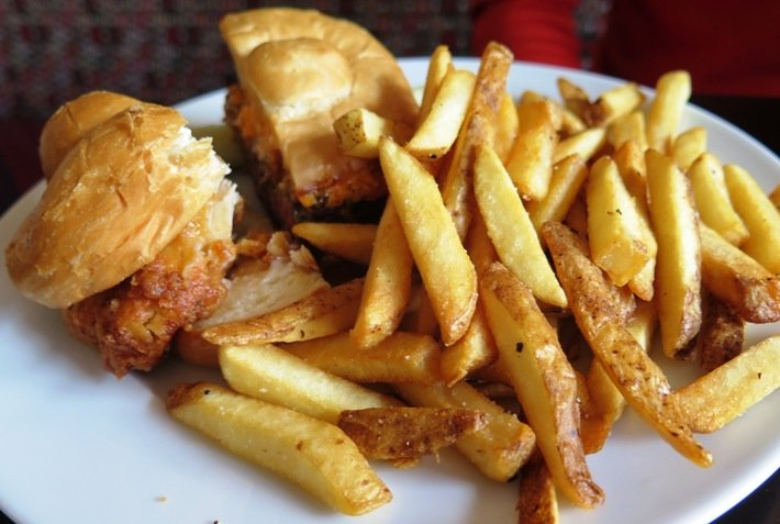 Sandwich (chicken-burger) at Verandah at the Mayton Inn, Cary- NC Triangle Dining