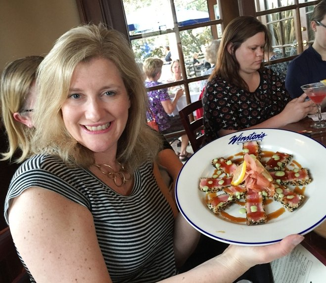 Leigh Hines with the seared tuna plate at Winston's Grille in Raleigh- NC Triangle Dining