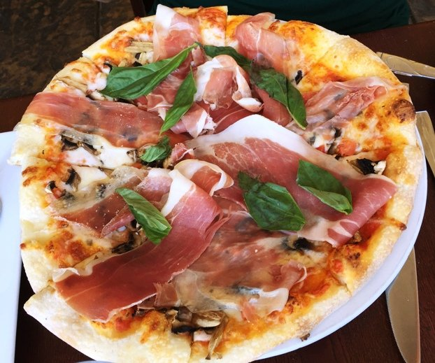 Margherita pizza w prosciutto at Enrigo Italian Bistro in Cary- NC Triangle Dining