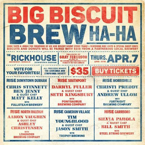 Event flyer for the Big Biscuit Brew Ha-Ha in Durham- NC Triangle Dining