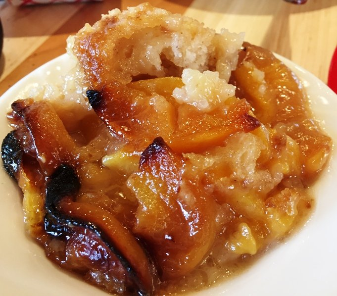 Peach cobbler at City Barbeque in Durham- NC Triangle Dining