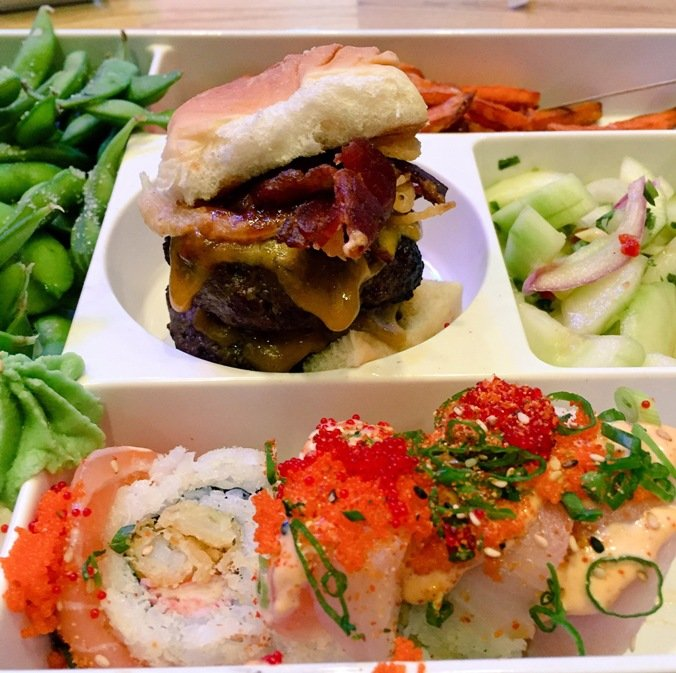 Bento box at Cowfish Sushi Burger Bar, Raleigh- NC Triangle Dining