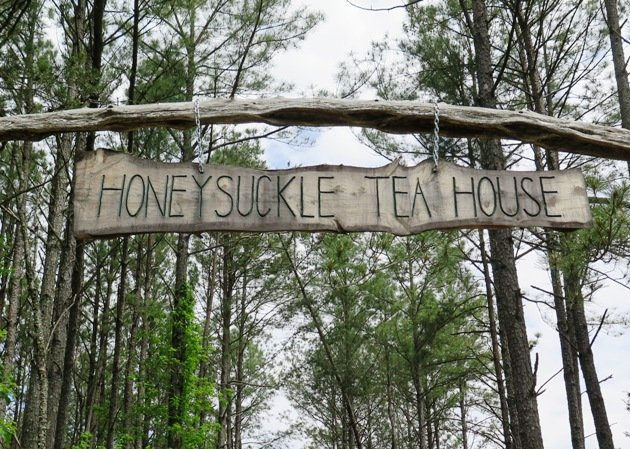 Front gate signage for Honeysuckle Tea House in Chapel Hill- NC Triangle Dining