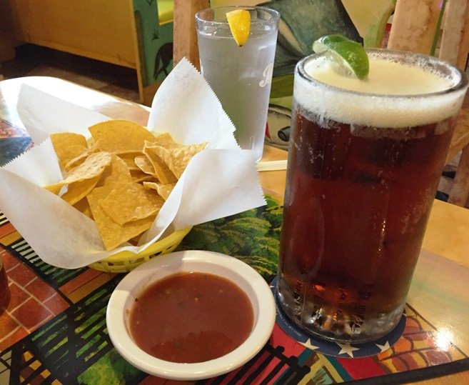 Chips, salsa and beer at Las Marias Tacos y Pupusas in Raleigh - nctriangledining.com