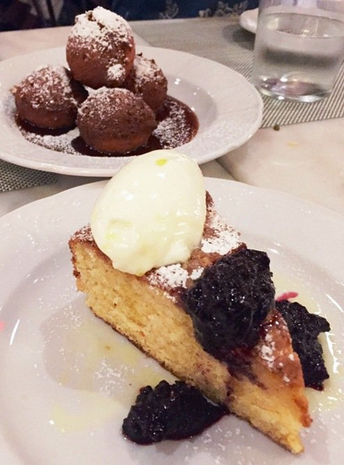 Zeppoli and lemon polenta cake dessert at Mothers & Sons in Durham- NC Triangle Dining