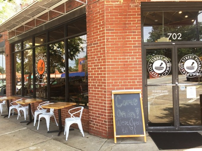 Front of Pharmacy Cafe in Raleigh- NC Triangle Dining