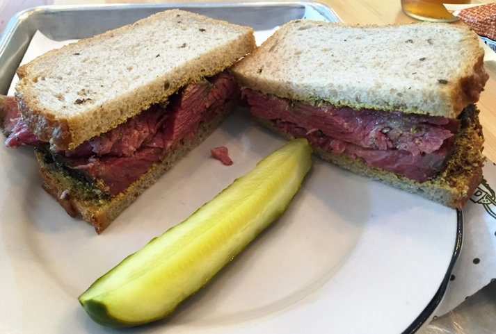 Pastrami sandwich at Lucky's Delicatessen in Durham - NC Triangle Dining
