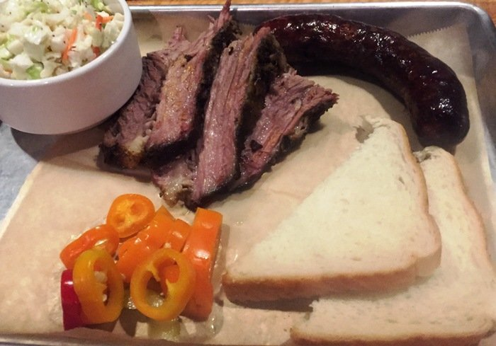 Brisket, slaw and hot link at Bare Bones in Raleigh- NC Triangle Dining