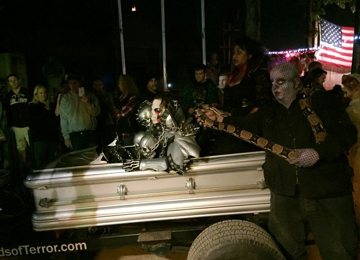 Casket mobile from Woods of Terror in Greensboro - NC Triangle Dining