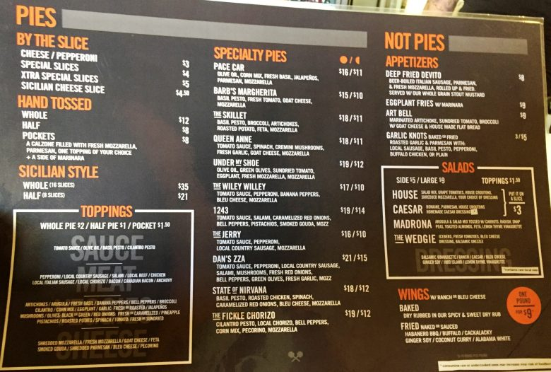 Menu at Pie Pushers in Durham - NC Triangle Dining