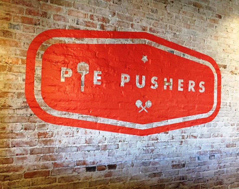 Signage at Pie Pushers in Durham - NC Triangle Dining