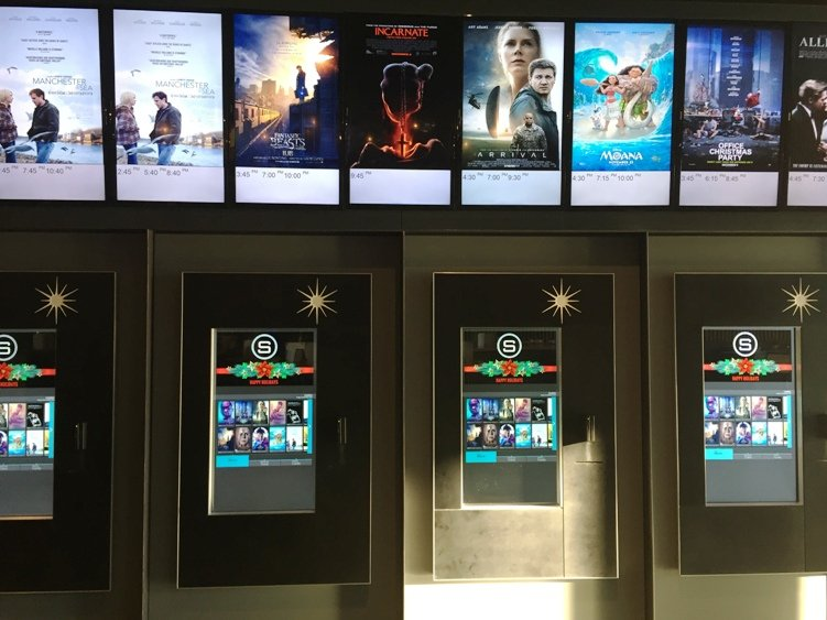 Ticket kiosks at Silverspot Cinema in Chapel Hill - NC Triangle Dining
