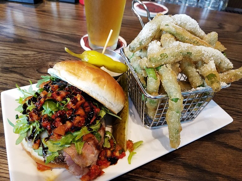 Caprese burger and fried string beans at Hops Burger Bar in Chapel Hill - nctriangledining.com