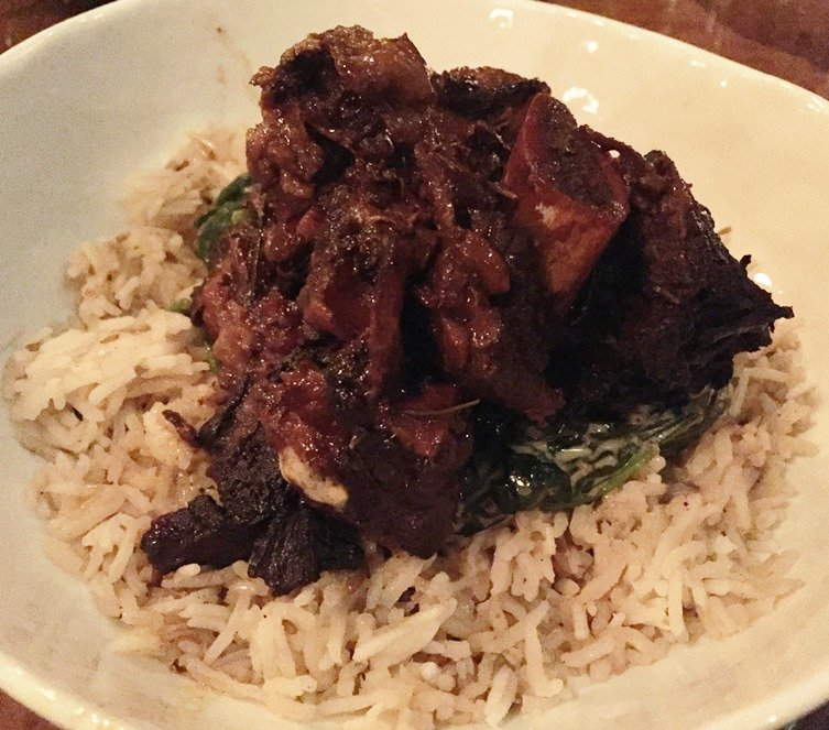 Short rib over spinach at Bar Virgile in Durham - NC Triangle Dining