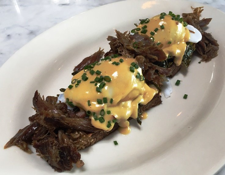 Duck confit benedict at Standard Foods in Raleigh - NC Triangle Dining