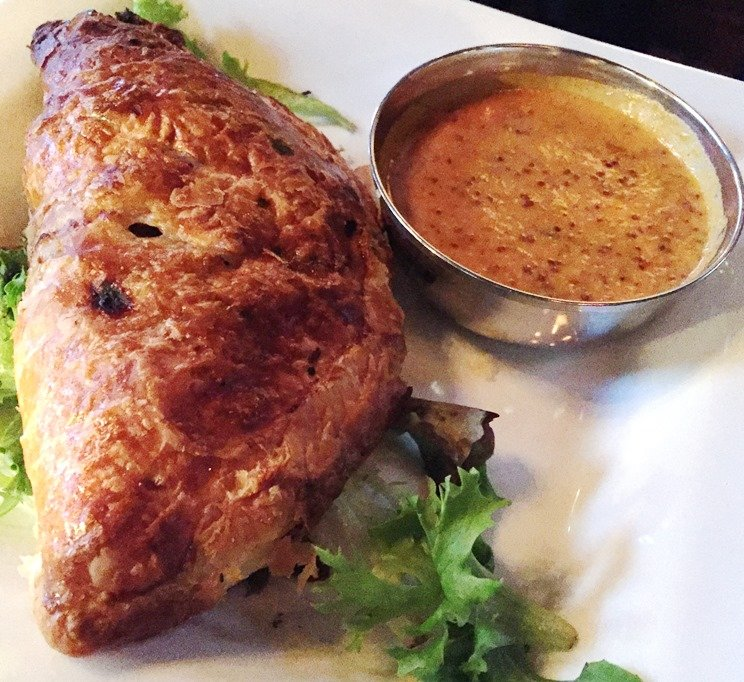 Corned beef pasty with mustard sauce at the Viceroy in Durham - NC Triangle Dining