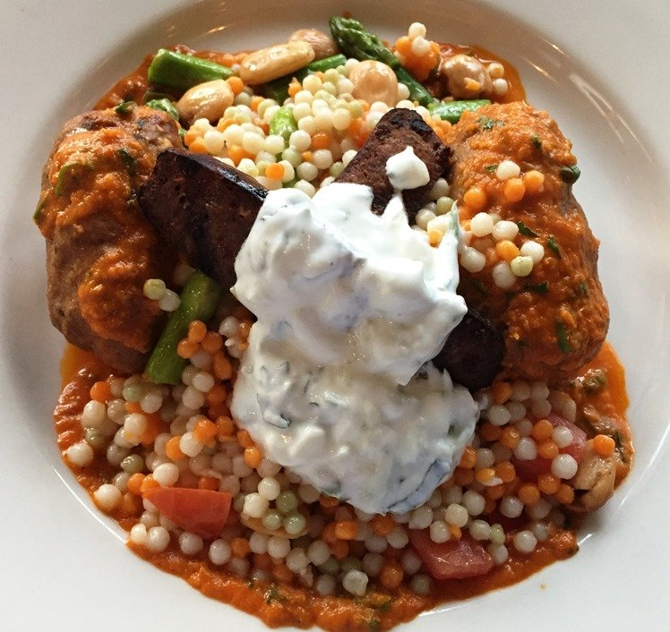 Lamb meatballs with merguez sausage at Bloomsbury Bistro in Raleigh - NC Triangle Dining