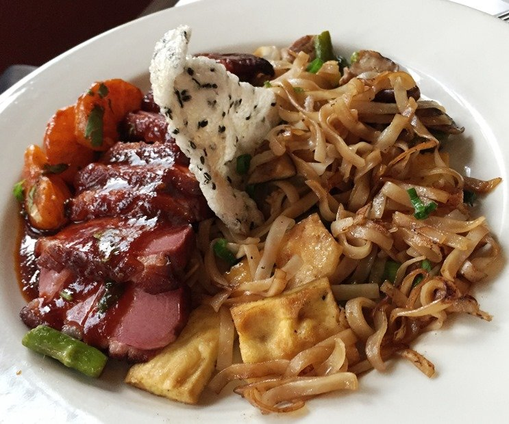 Szechuan duck over noodles at Bloomsbury Bistro in Raleigh - NC Triangle Dining