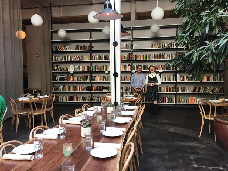 Florist and library area at Brewery Bhavana in Raleigh - NC Triangle Dining