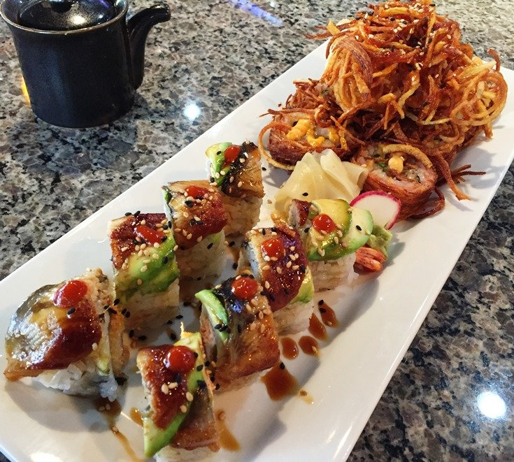 Dragon fire and Tornado rolls at Mama Jee in Raleigh - NC Triangle Dining