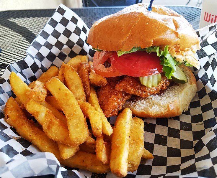 Honey stung chicken sandwich at Williams Gourmet Kitchen in Durham - NC Triangle Dining