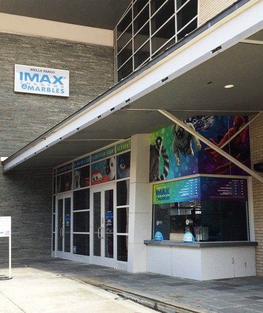 Front of IMAX Theatre at Marbles in Raleigh- NC Triangle Dining