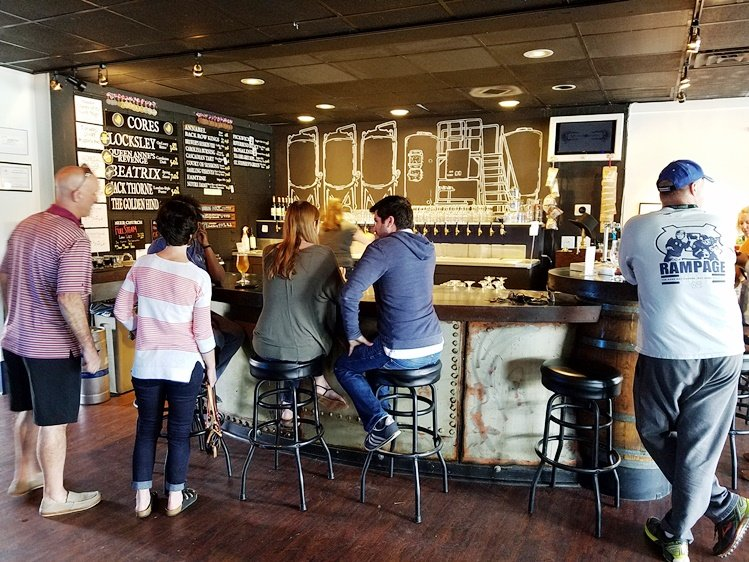 Beer bar at Mystery Brewing Public House in Hillsborough - NC Triangle Dining