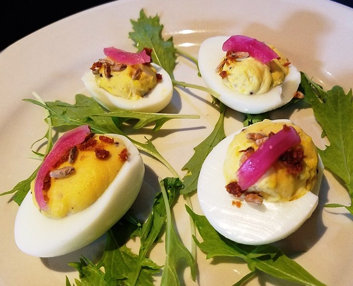 Deviled eggs at Mystery Brewing Public House in Hillsborough - NC Triangle Dining