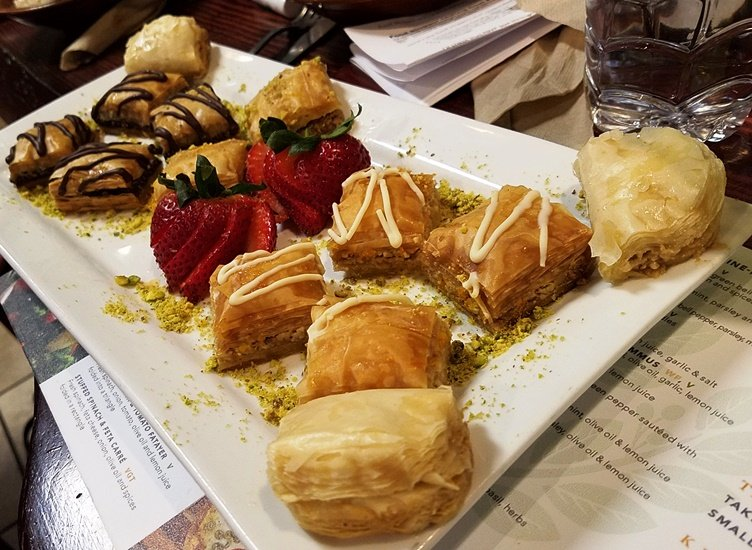 Baklava plate at Neomonde in Raleigh - NC Triangle Dining